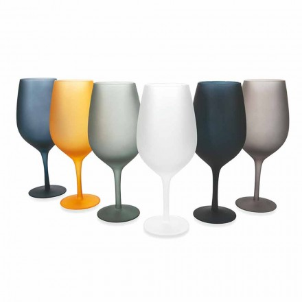 Rött eller vitt vinbägarset i färgat glas, 12 stycken - kant