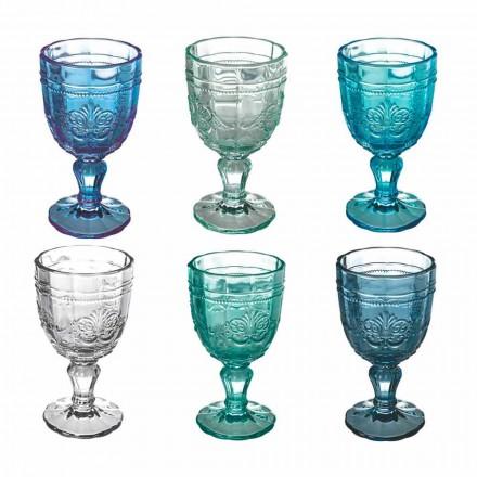 Färgat vinbägarset i glas och orientalisk dekoration 12 stycken - skruv