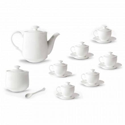 Komplett service av kaffekoppar 21 stycken i vitt porslin - Samantha