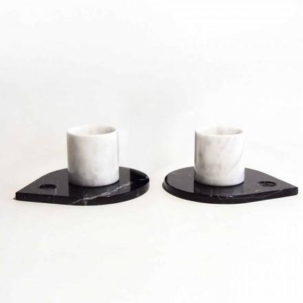 Kaffeservering i Carrara Marmor och Modern Marquinia Tillverkad i Italien - Garda