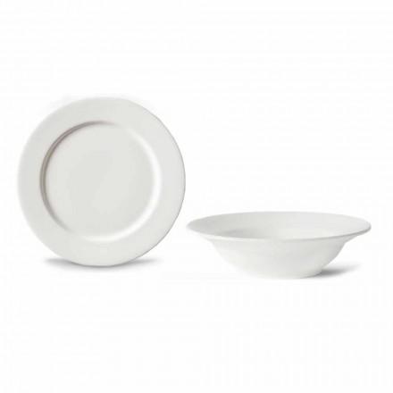Dessertservice 6 skålar och 6 designfat i vitt porslin - Samantha