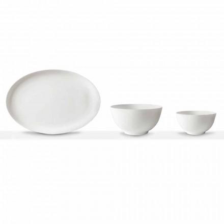 Vit porslin serveringsset Oval tallrik och skål 10 delar - Romilda