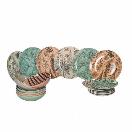 Kompletta bordsservisrätter i färgat porslin 18 stycken - balett