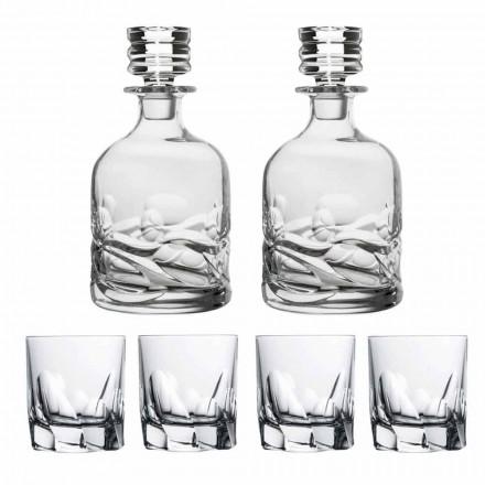 Whiskyset 2 flaskor och 4 glas i dekorerad kristall - titan