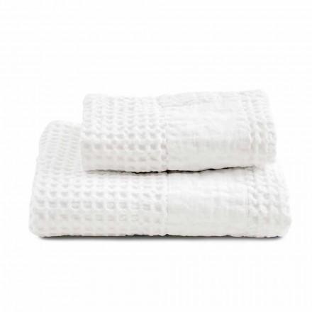 Badrumsuppsättning av handdukar i Bomulls Honungskaka och färgat linne - Turis