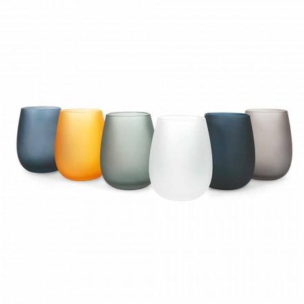 Modernt färgat glasvattenglas, 12 delar - fälg