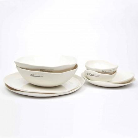Lyxig design med 24 delar vit porslinskål - Arciregale