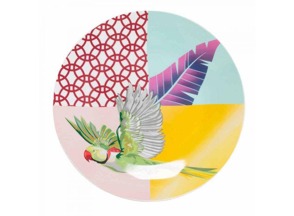 18 stycken färgad design porslin och Gres servis - Tropycale