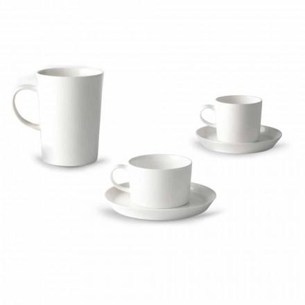 Kaffe-, te- och frukostkoppservice 30 delar i vitt porslin - Egle