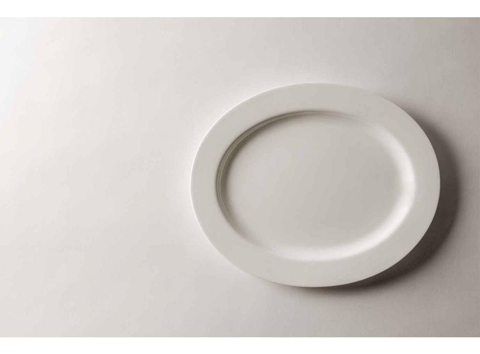 4-delade serveringsplattor i vit designerporslin - Samantha