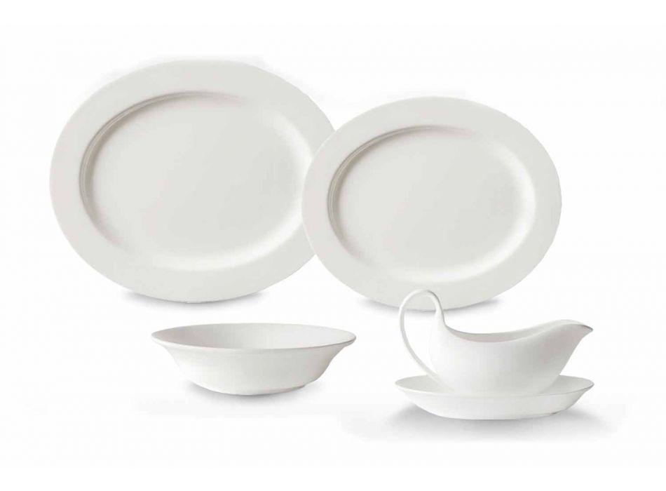 Vit porslinsdesign serveringsskålar Set 4 stycken - Samantha
