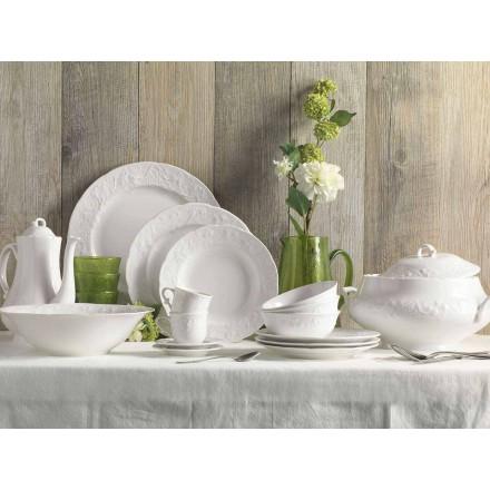Uppsättning av 27 eleganta vita porslinsdesignplattor - Gimignano