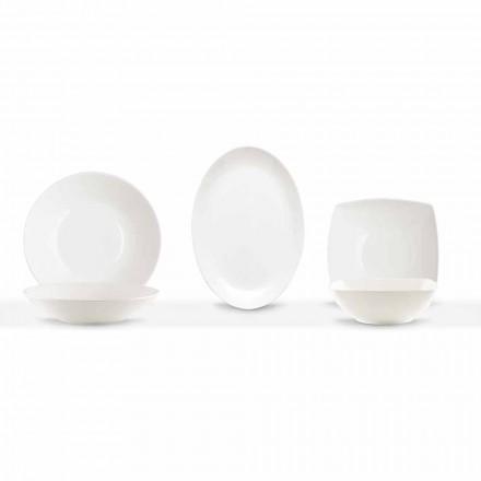 Serveringsrätter 3 delar modern design i vitt porslin - Malaga