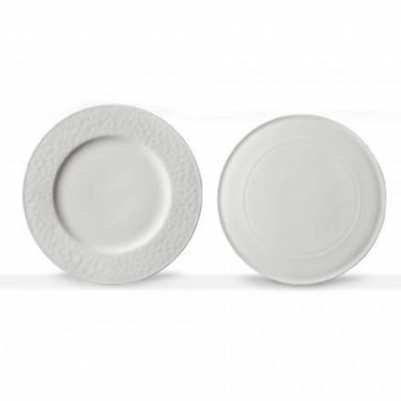 Gourmet Design serveringsrätter i vitt porslin 2 delar - Flavia