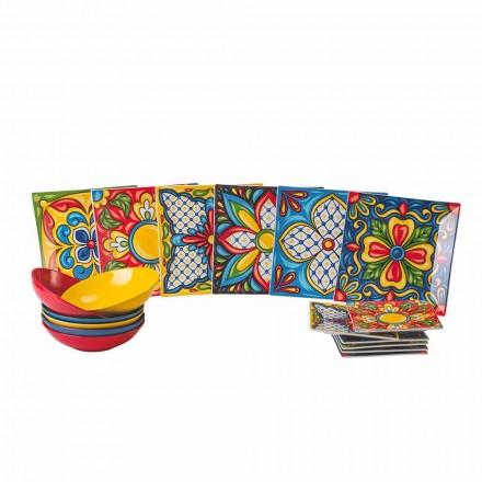 Porslins- och stengodsfärgad middagsplattaservice 18 stycken - Aztecas