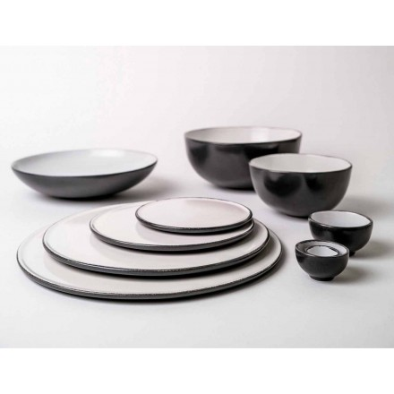 Service för middagarplattor i antracit eller brun stengods 18 delar - Diletta