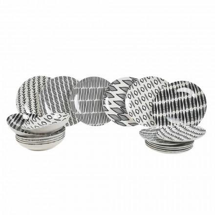 Elegant porslinsservis i svart och vitt 18 stycken - Tanzania