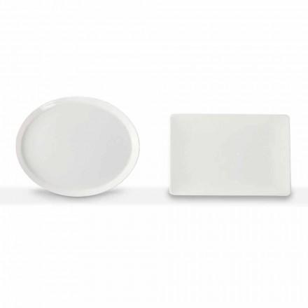 Middags tallrikar Oval och rektangulär design 3 delar i porslin - Egle