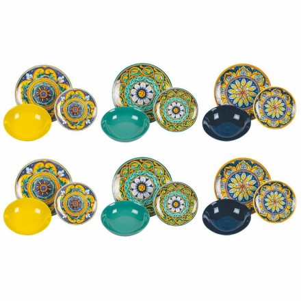 Komplett bordservice i porslin och färgat stengods 18 stycken - Kalabrien