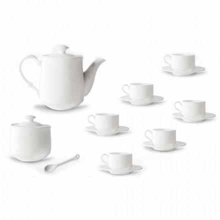 Kaffekoppsats i vit porslinsdesign Stackable 15 Pieces - Samantha