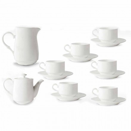 Vit porslin Cappuccino Cups Service 14 Frukostbitar - Samantha