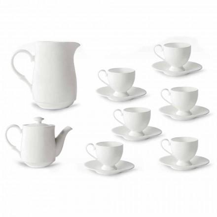 Cappuccino Cups Service med fot 14 stycken i vitt porslin - Armanda