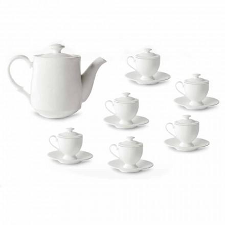 Kaffekoppservice med fot och lock 19 stycken i porslin - Armanda