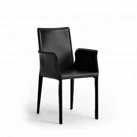 Stol med stålstruktur täckt i läder - Modern design Jolie