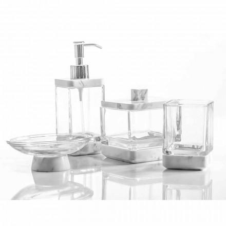 Moderna badrumstillbehör i Calacatta marmor och Carona glas