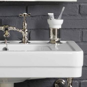 Bath set med dubbel konsol vit keramik av linjär struktur