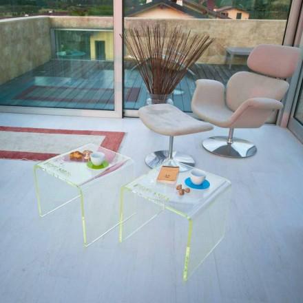 Uppsättning av 2 sängbord för modern design i metakrylat tillverkad i Italien - Leielui
