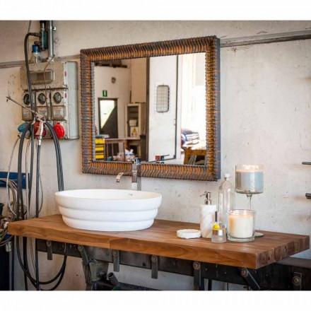 Set av upphängda designmöbler för badrum i teak blockboard Poggio