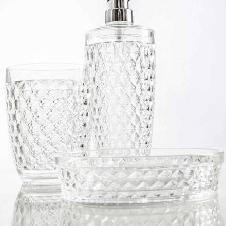 Set för badrumsdispenser + glas + modernt tvålfat Netro