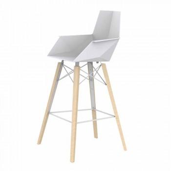Barstol med armstöd i trä och plast Olika färger - Faz Wood av Vondom