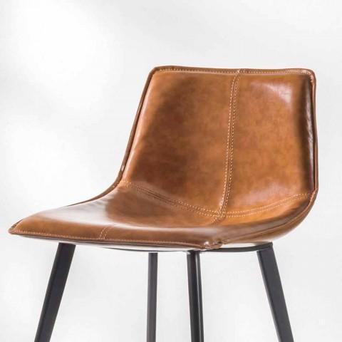 4 ben baspall, H 65 i faux läder med faux lädereffekt - Ovid