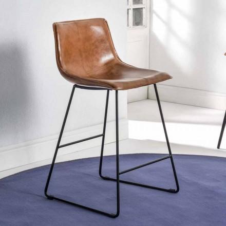 Släde baspall med eko-lädereffekt och svart bas - Ovidio