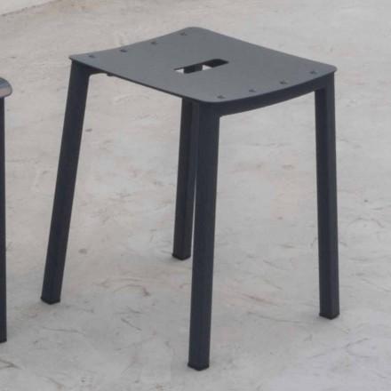 Modern utomhus stapelbar lågpall i aluminium tillverkad i Italien - Dobla