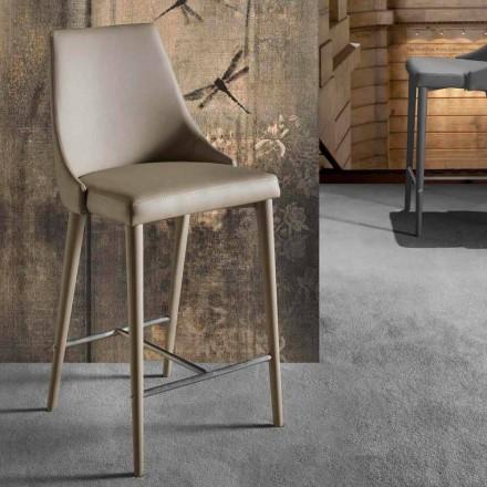 Modern designpall med ryggstöd och metallbas - Berenice