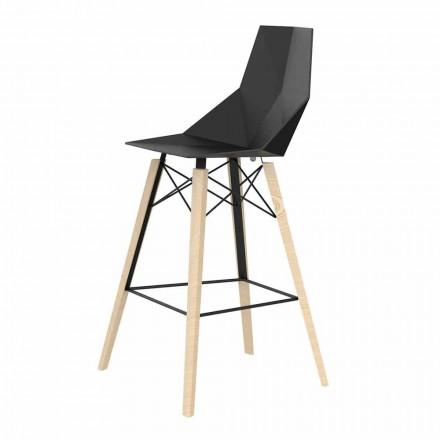 Inomhus barstol i trä och plast Olika färger - Faz Wood av Vondom