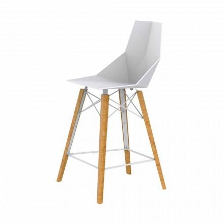 Design kökspall i trä och plast Olika färger - Faz Wood av Vondom