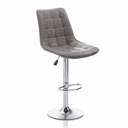 Designpall med konstläderstol och kromstruktur, 2 delar - Chiotta