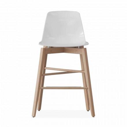Pall i ek och vitlackad stol med modern design - Langoustine