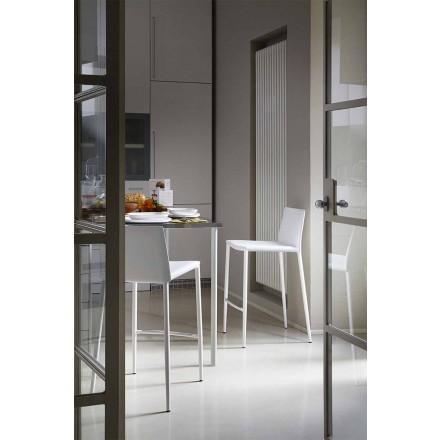 Modern bar eller kökspall i metall och limt läder - Boheme