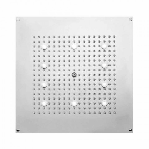 Square duschmunstycke dusch med regndusch och LED-lampor Bossini
