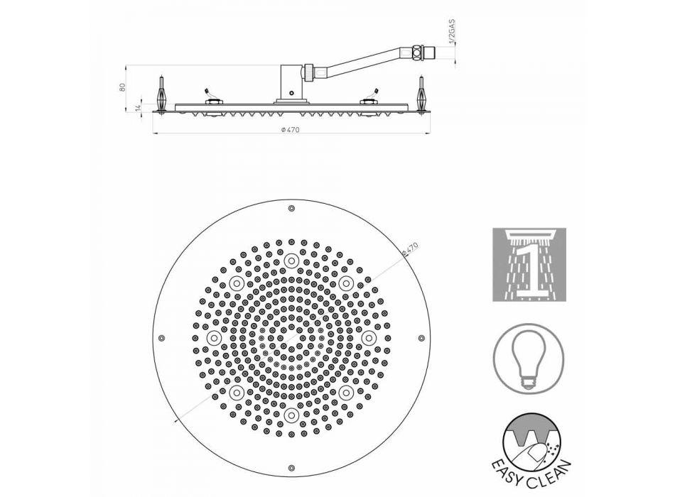 Modern rund dusch duschmunstycke till en stråle med LED-lampor Bossini