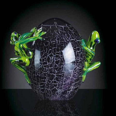 Äggformad prydnad med grodor i färgat glas tillverkat i Italien - Huevo