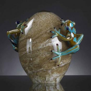 Äggformad glasprydnad med grodor tillverkade i Italien - Huevo