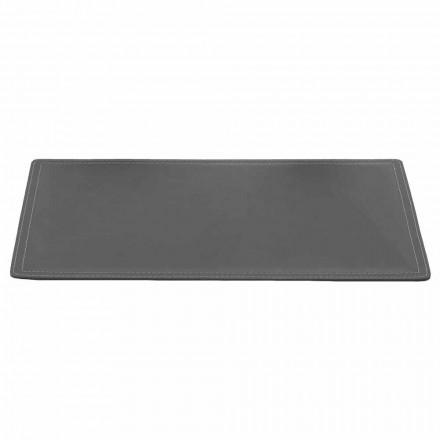 Regenererad läderbordsunderlägg med pennstoppsömnad Tillverkad i Italien - Ascanio