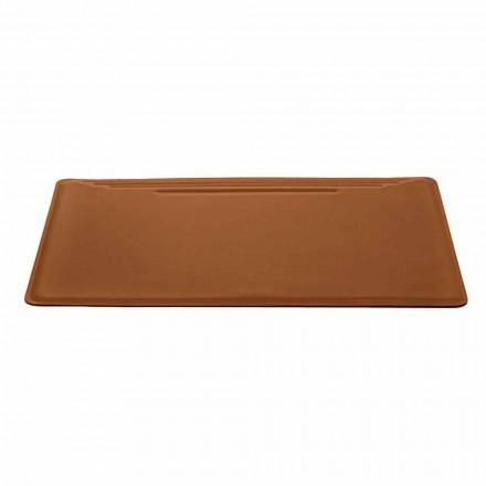 Tillverkad i Italien Skrivbord med regenererat läder med pennstopp - Ebe sömmar