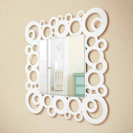White Square Wall Mirror Modern Design med trädekorationer - Bubble